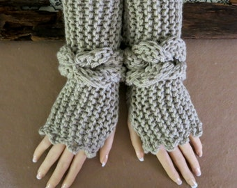 Knitted Fingerless Gloves, Gypsy Bohemian Wool Wrist Warmers, Chunky Soft Boho Armwarmers, Warm Winter Womens Birthday Christmas Gift