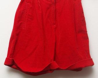 "90's Vintage ""LIZ SPORT"" Red High-Waisted Corduroy Shorts Sz: 2"