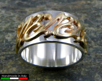 Silver band ring with 14 kt gold decoration - Made in Italy