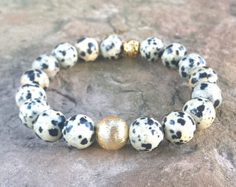 Womens 10mm DALMATION Animal Gemstone Brushed Gold Ball Accent Bead Stack Boho Chic Stretch BRACELET Jewelry Fashion Bling Trend Style Fall