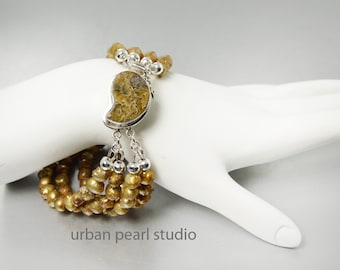 Gold Pearl Bracelet Multi Strand Gold Cuff Ammonite Nautilus Shell Clasp Bronze Pearl Fossil Bracelet