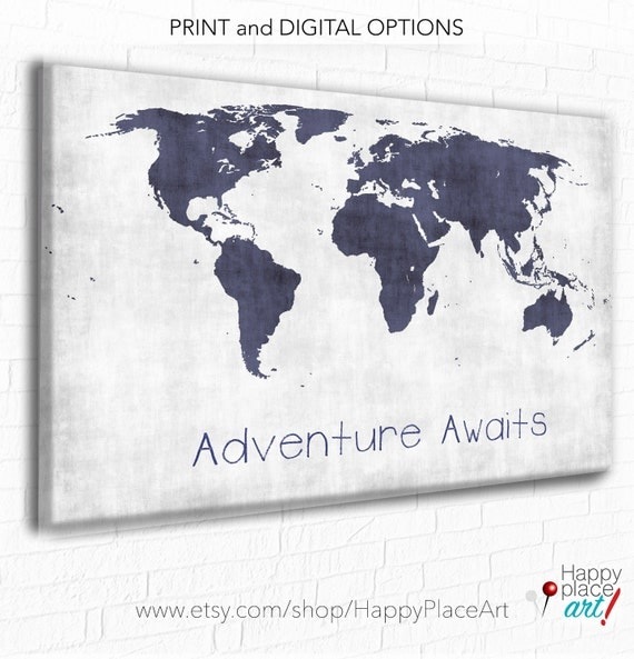 Adventure awaits custom quote world map poster map print like this item gumiabroncs Image collections