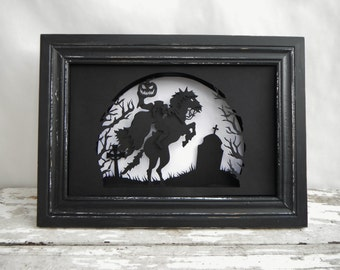 Headless Horseman Paper Cut Shadowbox. In Black and White