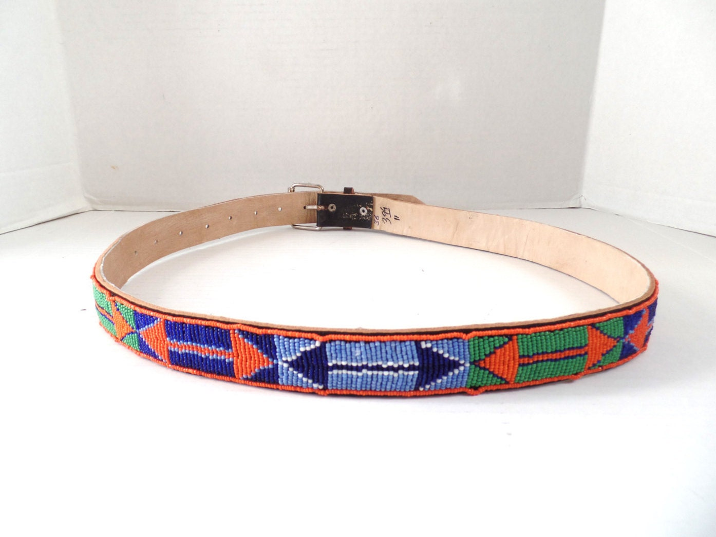 vintage american indian beaded leather belt