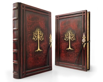Tree Of Gondor - Large Leather Journal - 10.5 x 14 inches - 400 pages - unique journal, special gift, sketchbook, notebook, large journal