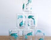 Blue Leaf Salem Biscayne Juice Glasses Set of Six