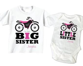 Big Brother Dirtbike Shirt, Dirtbike Big Sister Baby Sister Shirt 2 Personalized Shirt Set