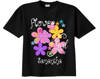 Flower Girl Shirts and Flower Girl Tshirts with Flowers and Colorful Lettering BLACK Tees