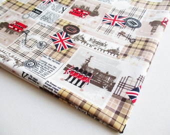 Union Jack fabric, London Themed fabric by the yard, United Kingdom, Gingham fabric, Clock Big Ben Tower, baby shower, pillow cover, CT472