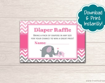 Printable Elephant Baby Shower Diaper Raffle Card - Pink and Gray Shower - Little Peanut Baby Shower Package - Instant Download - BS52