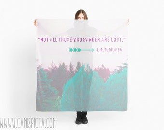 "Lord of the Rings Scarf 57""x 57"" Forest J R R Tolkien Not all who wander are lost Quote Woodland Wrap Mint For Clothing Scarves Wrap Fan Art"
