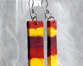 Boho Fire Hanji Paper Earrings OOAK Patchwork Brown Rust Yellow Hypoallergenic Earrings Lightweight Fall Color Earrings Fire Earrings