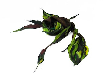 Green Scarf Wild scarf Felted Scarf fairy scarf wearable art Felt Wrap Nunofelted Scarves Nuno Silk Silkyfelted Eco scarf shawl Fiber Art