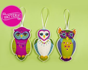 Set of 3 Owl Felt Ornament PDF Patterns
