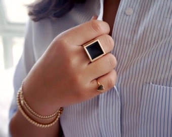 Signet Ring, Black Signet Ring, Gold Or Silver Square Ring, Solid Statement Gold Ring, Vintage Style Jewelry.