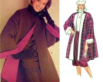 Very Easy Vogue Pattern 1213 Designer Perry ELLIS Retro Tent or Swing Style Coat Drop Shoulder Sz 14 Uncut FF