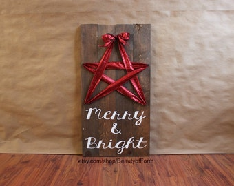 Merry & Bright Red Ribbon Star Reclaimed Wood Sign