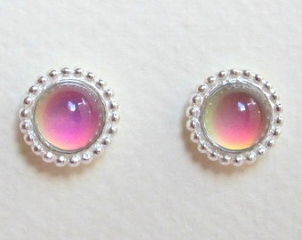 Mood Stud Earrings - Sterling Silver 925 - 6 mm Deluxe Mood Stone - color changing