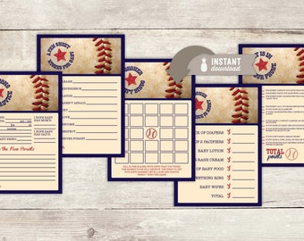 "Baseball Baby Shower Game Pack - 5 Games on 8.5"" x 11"" PDF files with two 5"" x 7"" Game Cards per page - Instant Download"
