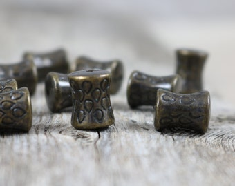 Vintage Antique Bronze Fluted Tube Beads - 12mm - 10 beads