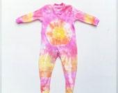 Tie Dye Baby Sleepsuit Romper Orange Yellow  Pink ALL SIZES Hippie Babies Baby Shower Gift Idea Tie Dye Baby Clothes Baby Gift Christening