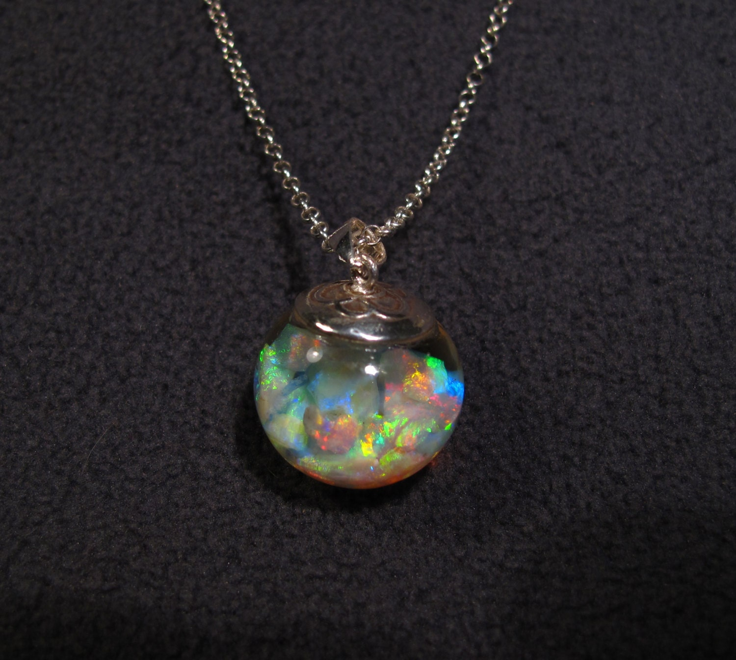 floating opals necklace lightning ridge by planetopal