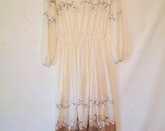 vintage 1980s dress / cream and tan dress / large vintage dress / 1980s 80s eighties / cream floral dress / sheer gauze dress