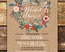 ANY EVENT - Bridal Shower Floral Wreath Kraft Baby Shower Invitation Printable Digital  Discounted Price Limited Time Only!