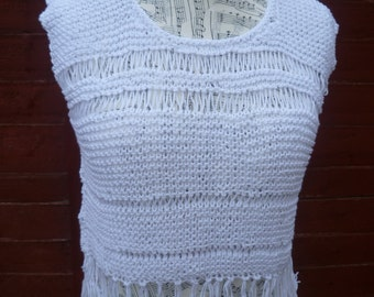 White Fringed Cotton Loose Knit Crop Top, Hand Knitted Cotton Coachella, Eco Friendly Open Knit Fringed Cropped Top,  ClickClackKnits