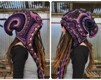 Midnight Garden Freeform Crochet Hooded Scarf // Ooak Fiber Art Spirit Hood