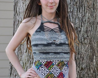 SALE Rainbows and Clouds Pineapple Crop Top // Handmade Crochet Festival Apron Top // Collaboration with Araminta Muscaria