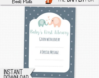 Book Plate Navy Elephant Bring A Book Baby Shower - printable bookplate book label - Baby's First Library Gender Neutral Navy Peach Teal