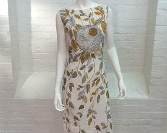 vintage sheath dress // cotton floral dress // 1960s // medium