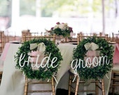 "Bride and Groom Signs, Wedding Signs, Chair Signs, 20"" wide, UNFINISHED"