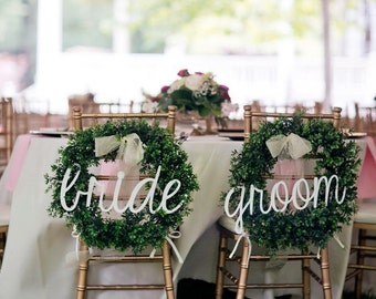 """Bride and Groom Signs, Wedding Signs, Chair Signs, 20"""" wide, UNFINISHED"""