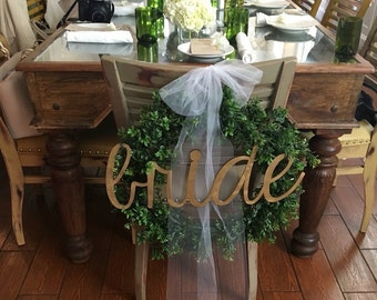 "BRIDE Chair Sign, Bridal Shower, Wedding Signs, Bride Sign, Chair Signs, 20"" wide, UNFINISHED"