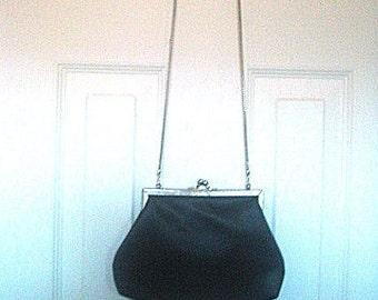Black Satin Shoulder Bag or Clutch Purse Made In Hong Kong Adjusts Adaptable