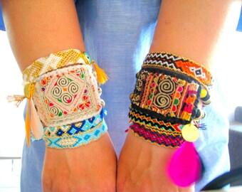 White - Fucshia OOAK Cuff Bracelet. Ethnic Bracelet. Semiprecious Bracelet. #1