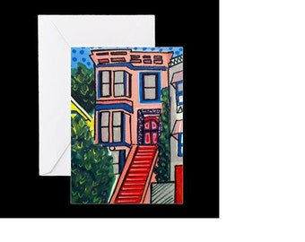 San Francisco Victorian #1 - 4 Greeting Cards By Artist A.V.Apostle