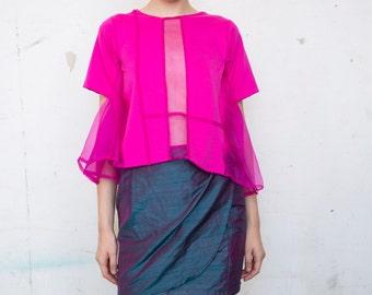 Iridescent Silk Blue Pink High Waisted Wrap Skirt, Pink Waistband Tie