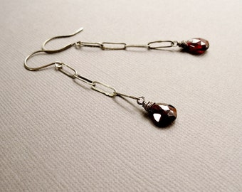 Oxidized Sterling Silver and Garnet Earrings, Hand Forged Chain and Gemstone Swing Earrings, January Birthstone Jewelry, Red Stone