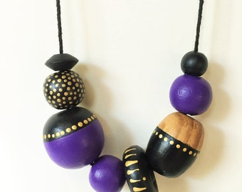 Disco Deco Purple and Black Geometric Necklace -  Jewelry with Golden Dots  and Wood Grain Details