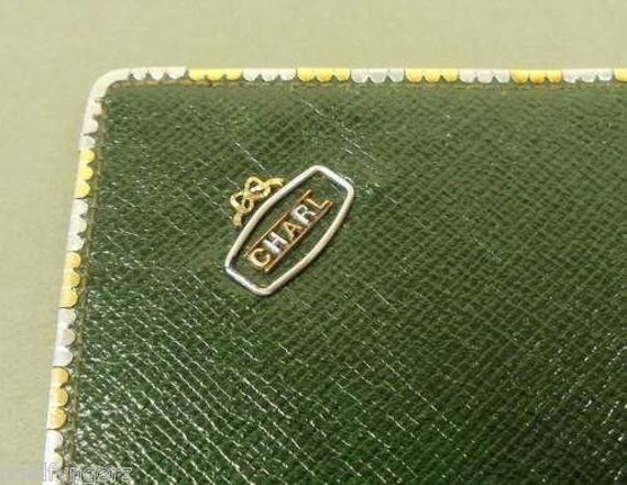 "Vintage : 18K Gold Trimmed, ""J.C.VICKERY"" Green Leather Wallet....WOW"