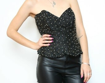 Vintage 90s Black Sequin and Beaded Bustier