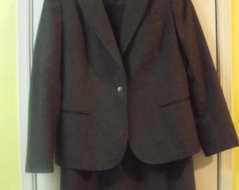 Vintage 1980s Women's Pinstriped Suit by Harve Benard Brown Size 10 Warm Wool Winter Fashion