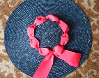 Black Colonial Hat with Vintage Red Ribbon Trim