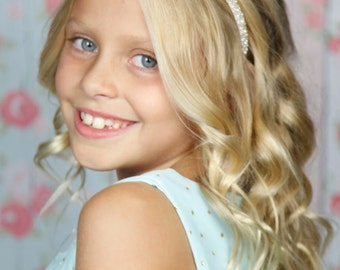 Pearl Beaded Headband, Bridal, Couture - Thin Headband with Beaded Applique, Ear to Ear Beading - Flower Girl, First Communion, Dressy