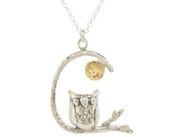 Owl on Branch Pendant silver & 9ct Gold