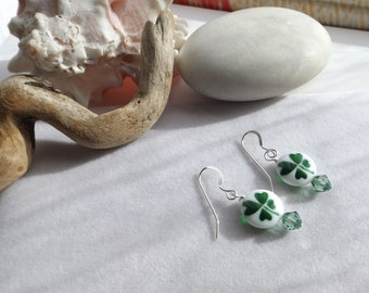 Shamrock, Four-leaf Clover Lampwork Beaded Drop Dangle Earrings with Swarovski Crystals for St. Patrick's Day, Spring, Summer, Irish Jewelry