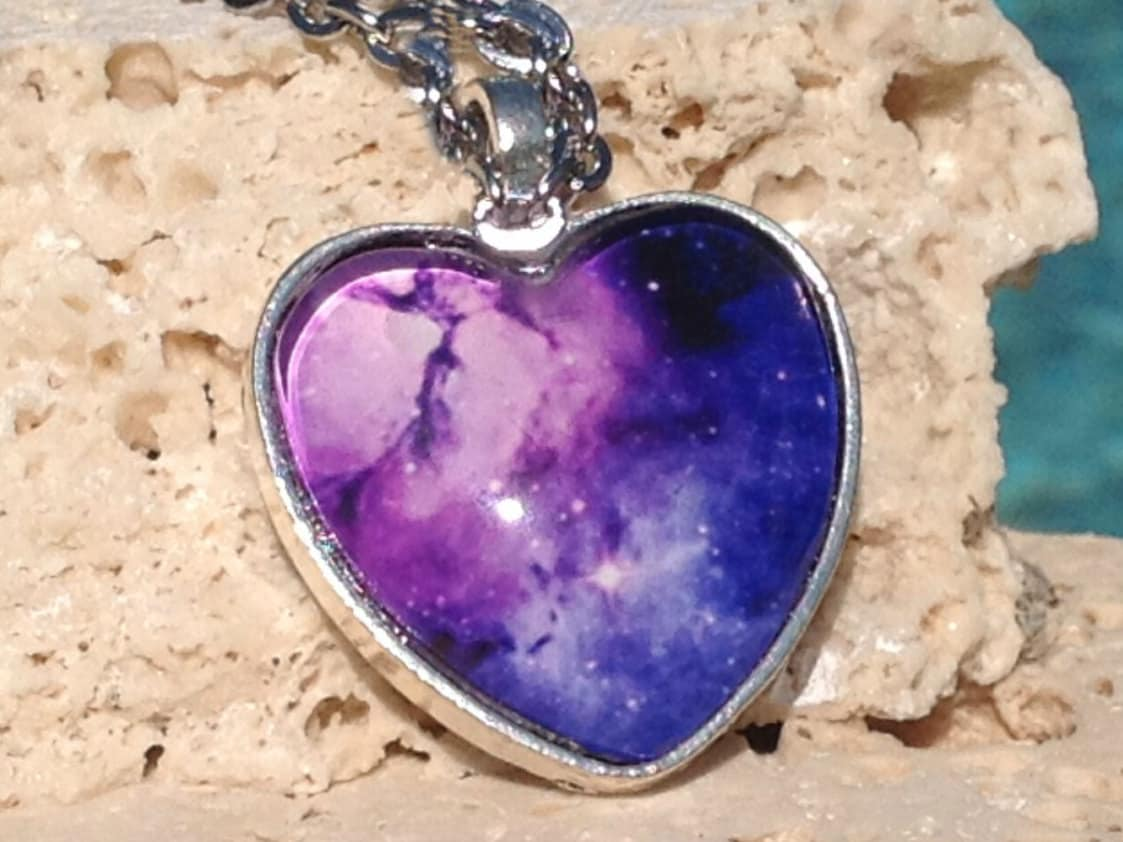Nebula heart pendant heart shaped necklace nebula pendant